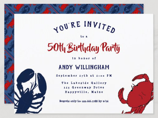Seafood birthday party invitation lobster crab red, white blue unisex crustaceans shellfish bold design