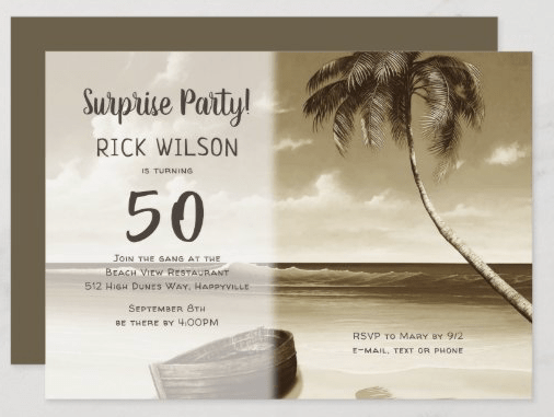 Palm tree island birthday party invitation masculine rowboat deserted beach theme sepia