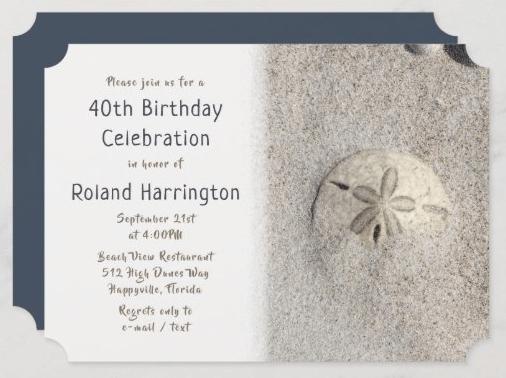 Sand dollar beach birthday party invitation template custom paper notched coastal seacoast milestone man masculine seaside