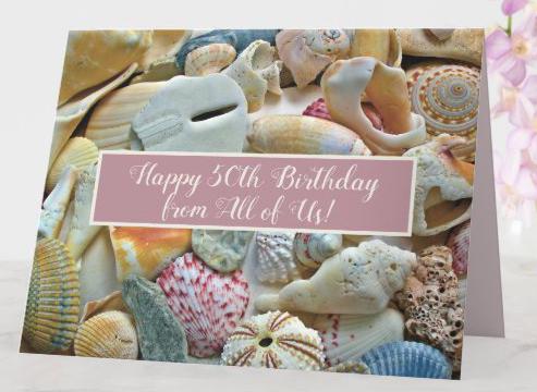 Pink seashells folded card happy birthday congratulations any occasion custom greeting