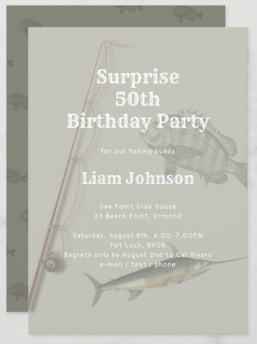 surprise birthday party for man fishing theme adult saltwater rod n reel fisherman invitation template gray brown