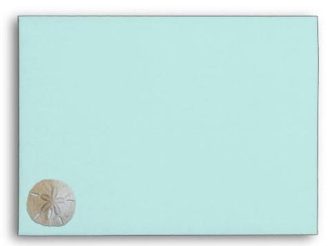 Aqua blue envelopes sand dollar design front under flap seashell beach shell A7 cards invitations