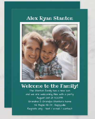 Adopting a son cards with photo announcement teal green white text