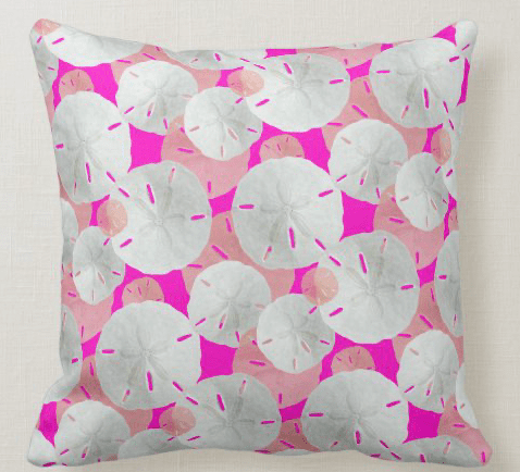 sand dollars pattern pillow in hot pink color tropical square coastal decor
