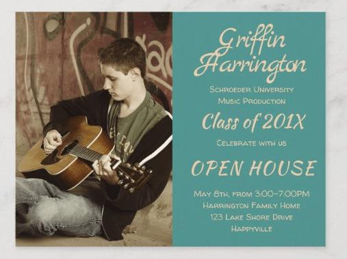 Graduation open house postcard boys high school grad announcement teal blue