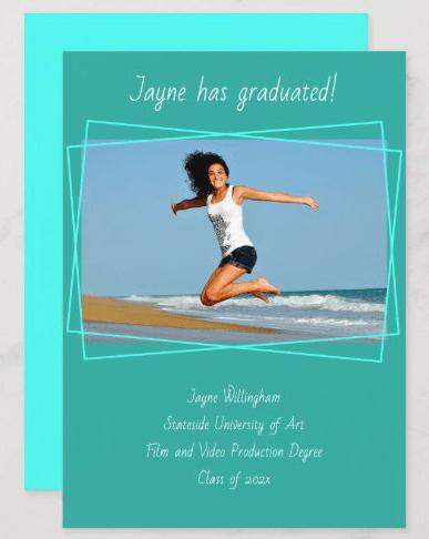 tropical blue graduation hand-printed font announcement cards photo template aqua teal