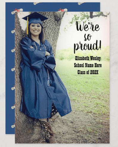 So proud big photo graduation announcement diploma pattern unisex male female navy blue text overlay
