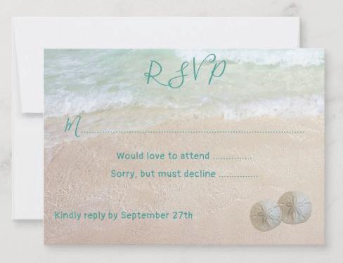 Beach wedding menu rsvp cards sand dollars