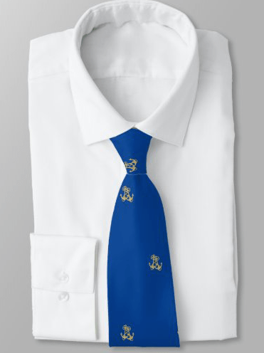 Navy blue tie with tiny gold anchors