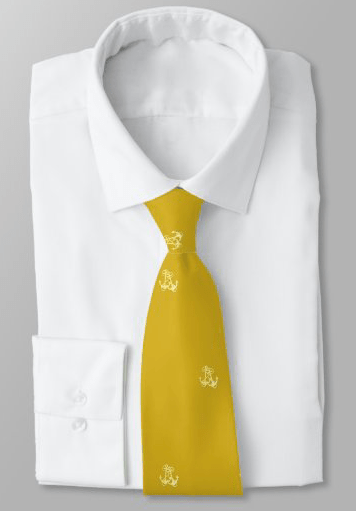 Grooms tie gold with ships anchor pattern understated nautical wedding