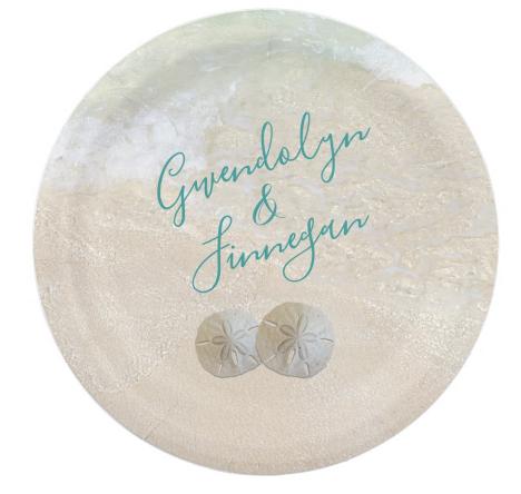 Custom sand dollar beach wedding paper plates