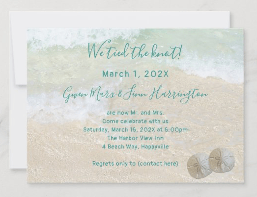 Private beach wedding ceremony announcement reception only invitation sand dollars