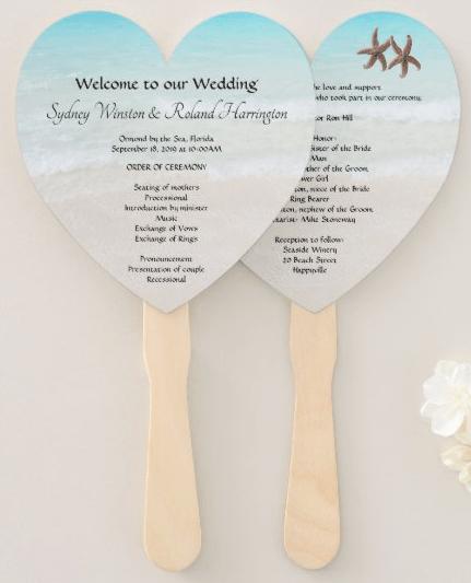 heart shaped wedding program beach scene starfish