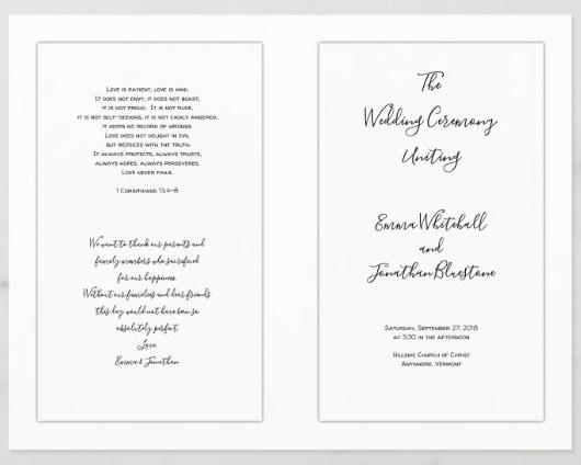 White Catholic wedding program template folded