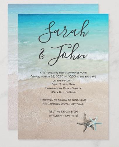 Anniversary vows on beach modern starfish sea stars seashore invitation