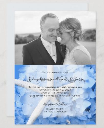 Photo wedding invitation seaside garden blue hydrangeas starfish design