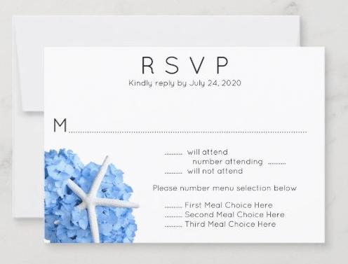 seaside garden menu rsvp card blue hydrangea wedding starfish