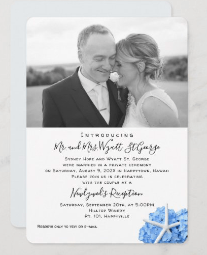 private ceremony wedding announcement photo template seaside garden starfish hydrangea
