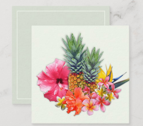 Hawaiian flowers tiny square note card pineapple frangipani