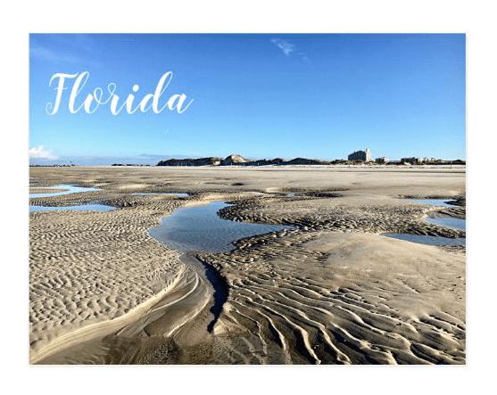florida postcard low tide, beach Ponce Inlet, New Smyrna Beach