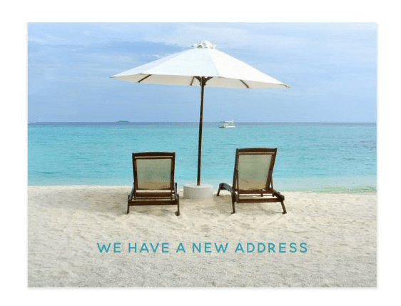 Beach chairs in sand new address announcement postcards