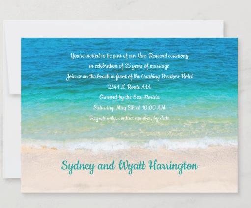 renewing vows invitation beach ocean ceremony anniversary