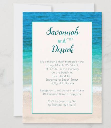 Renew vows invitation beach ceremony layered design