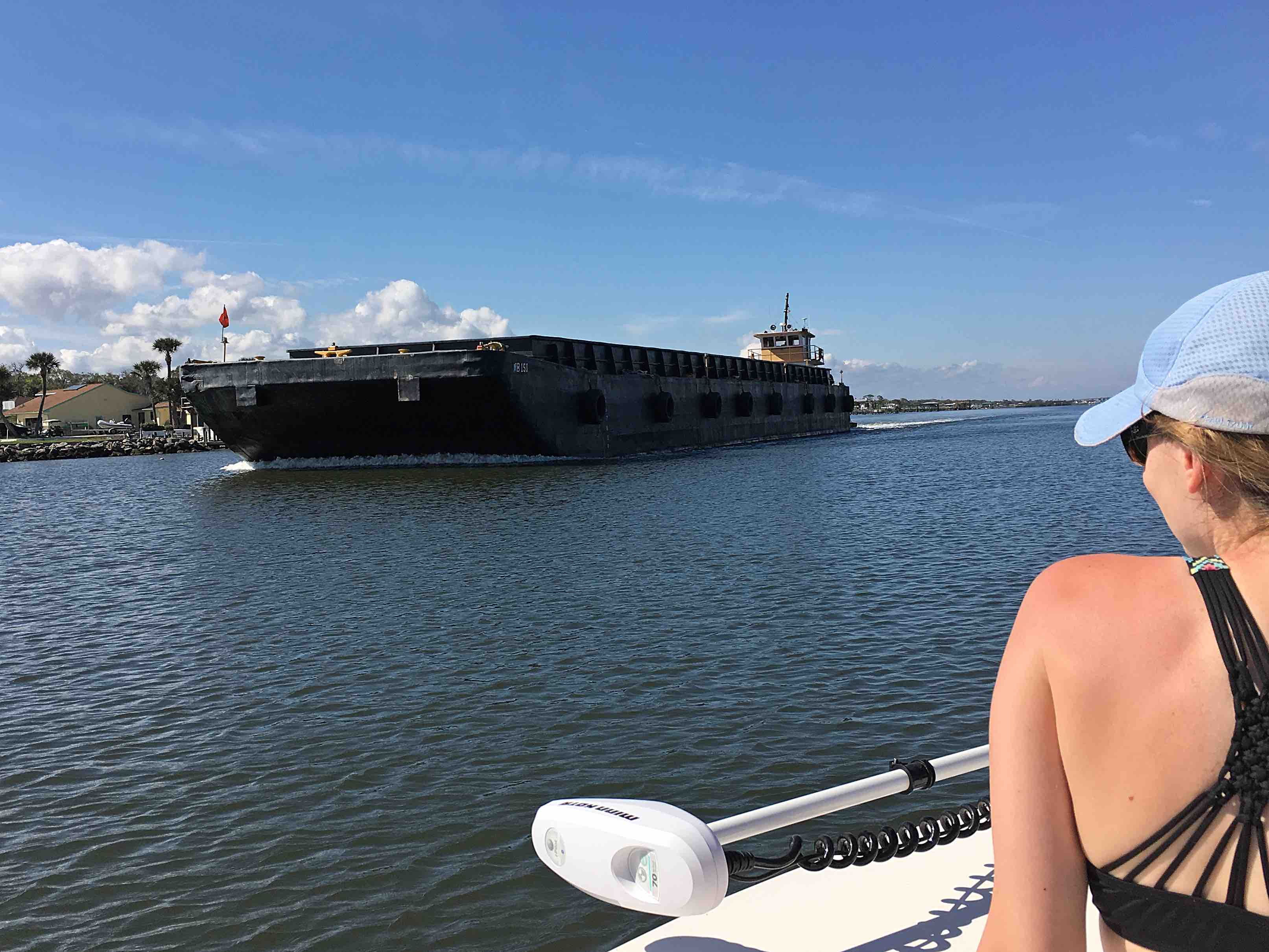 Big barge going past on the Indian River