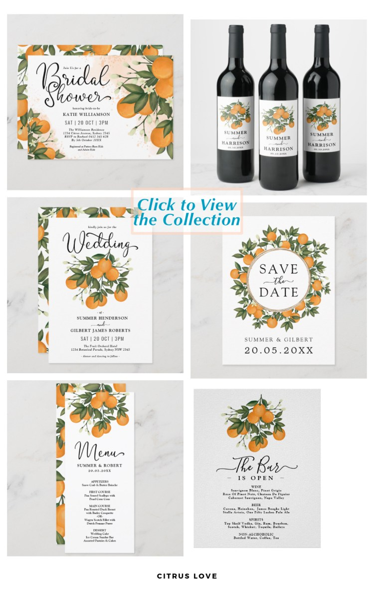 citrus orange wedding stationery set tropical fruit with green leaves and text templates.
