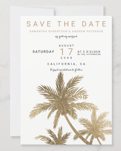 golden palm trees save the date tropical wedding announcement