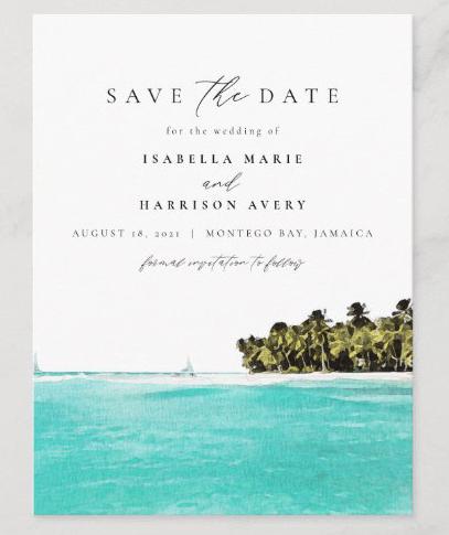 Tropical ocean save the date destination wedding announcement