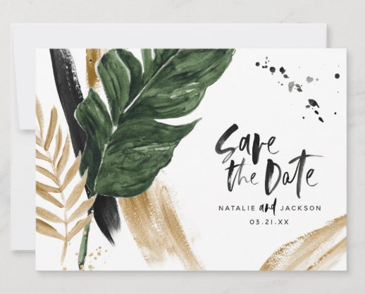 save the date abstract tropical leaves flat cards