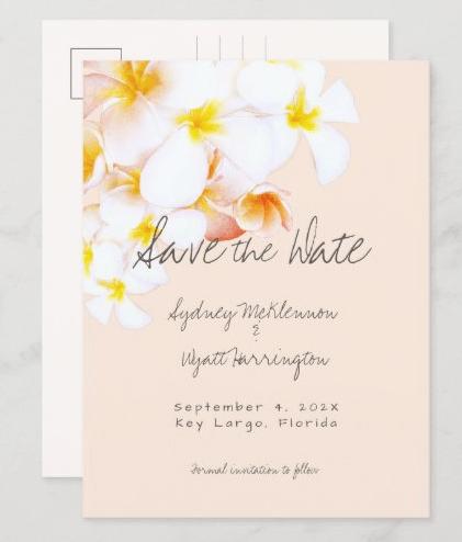 plumeria save the date postcard hawaiian wedding announcement frangipani