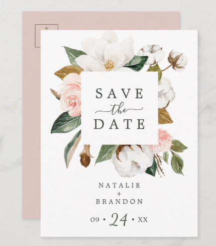 Magnolia save the date postcard pink white