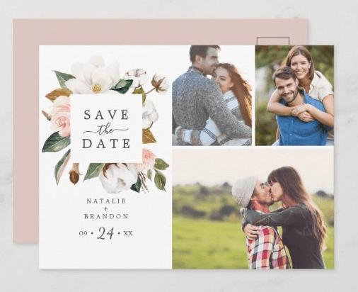 elegant magnolia photo save the date postcards