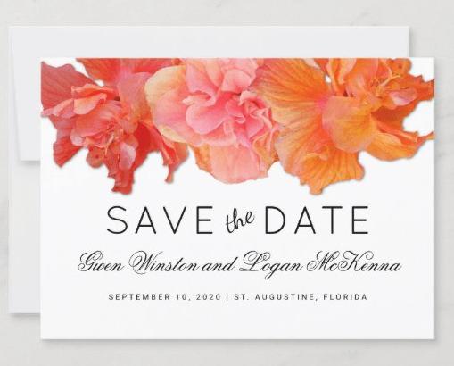 orange hibiscus save the date flat cards