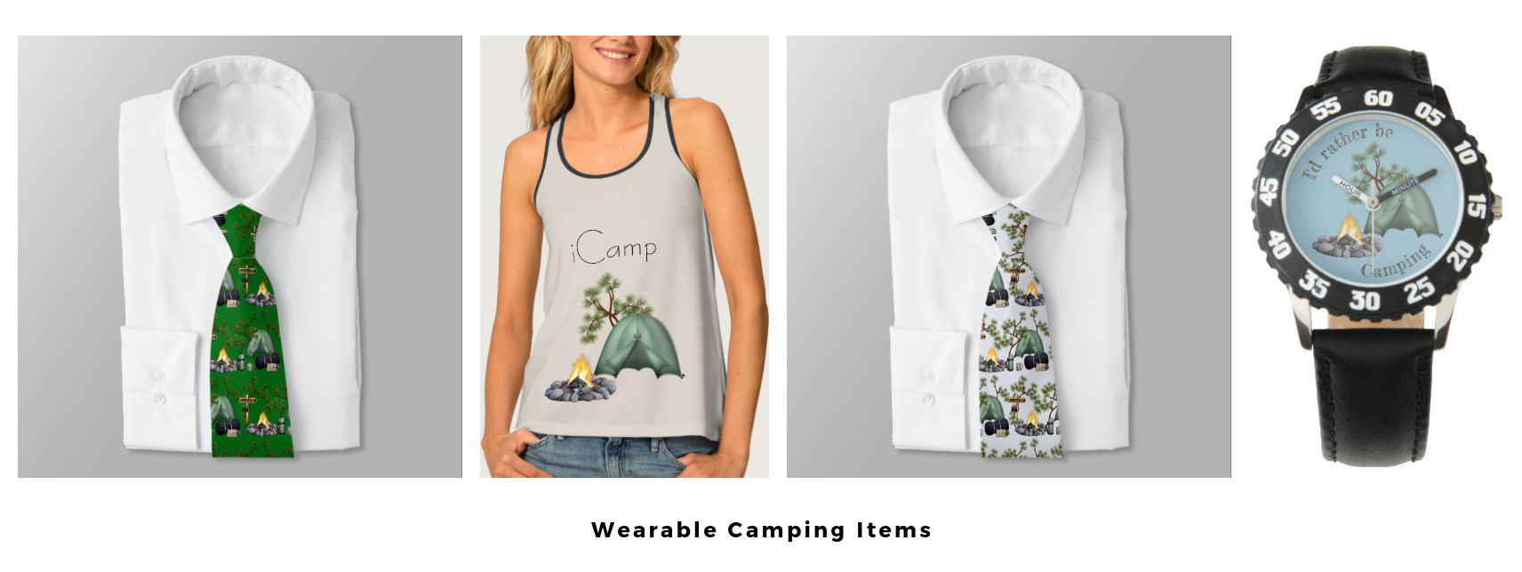 camping, tent camping, tank top, ties, watch