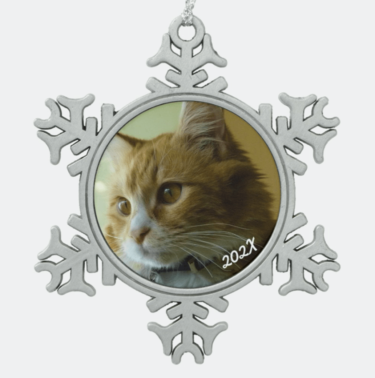 Pewter snowflake Christmas ornament with photo template and cat photo, or your choice, with year date.