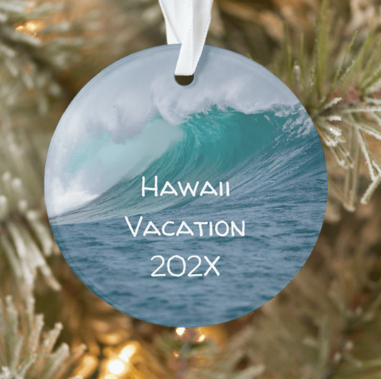 Big ocean wave custom Christmas tree ornament with text on the front and photo on the back.