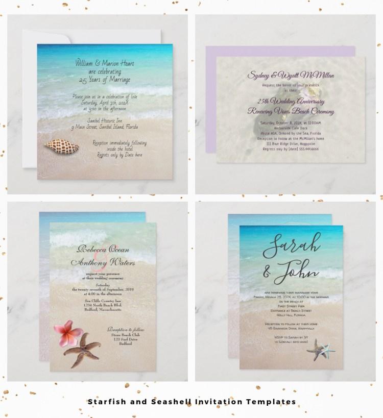beach wedding invitation with starfish seashells