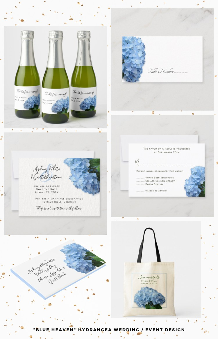 Light blue hydrangea flowers on paper for weddings and events.  The Blue Heaven design is beautiful with realistic blooms and a bit of greenery.