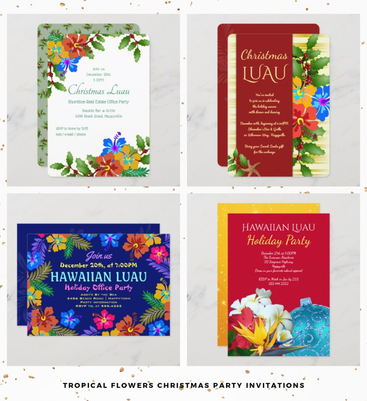 tropical flowers Christmas party invitation templates