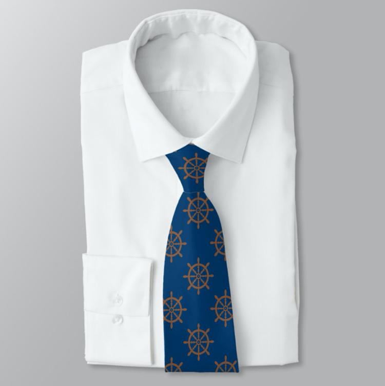 Navy blue neck tie ships wheel pattern