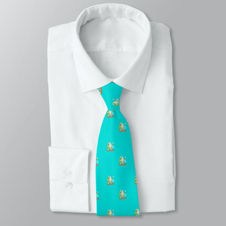 Turquoise tie with tiny surfboards design