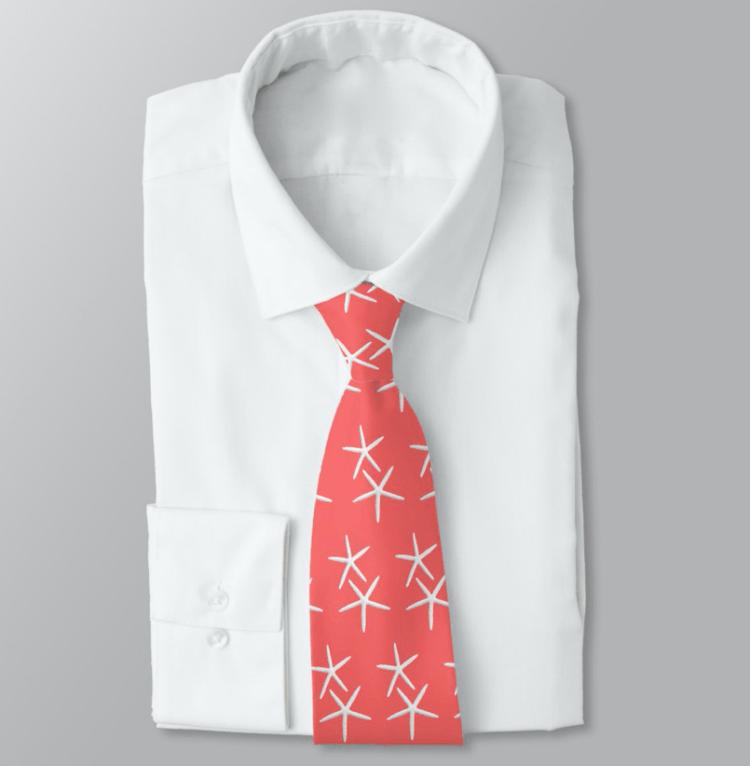 Starfish tie coral orange-pink color