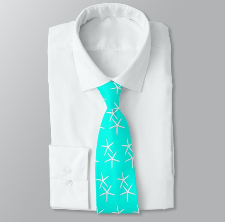 bright turquoise aqua tie starfish pattern