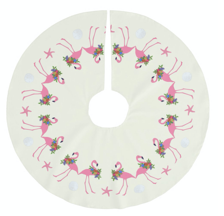 Festive flamingos tree skirt for the holiday season.  Ecru with pink birds wearing wreaths and standing among starfish and sand dollars.