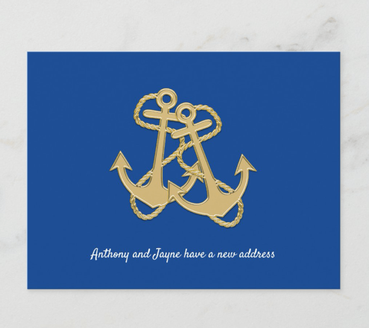Navy blue two anchors new address postcard announcement
