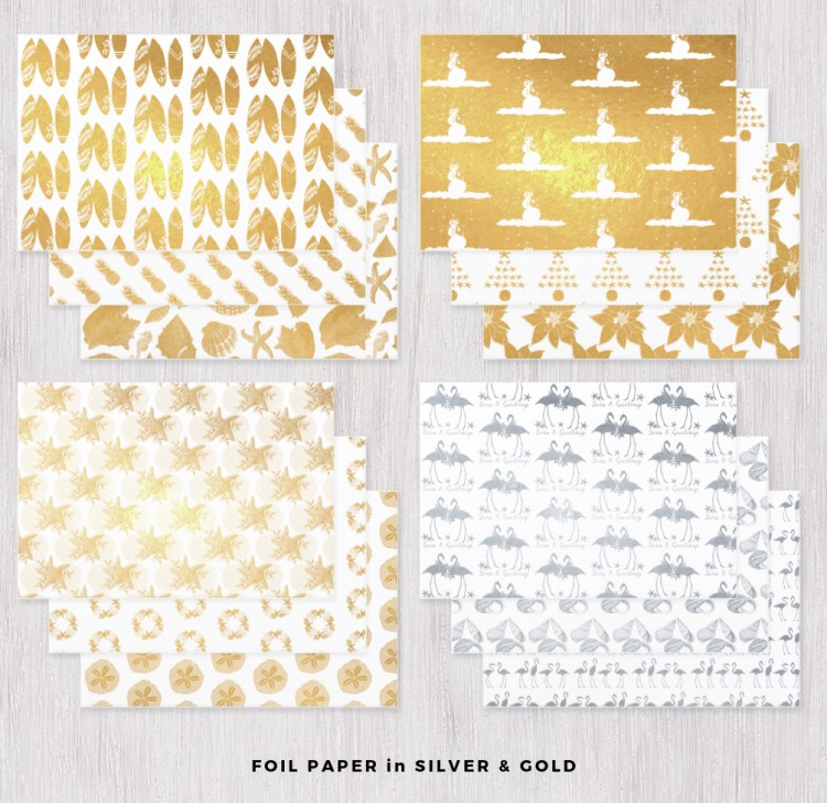 Silver and gold foil wrapping paper