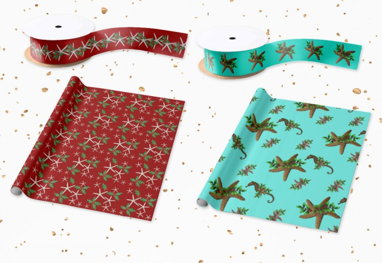 Tropical Christmas wrapping paper and ribbon